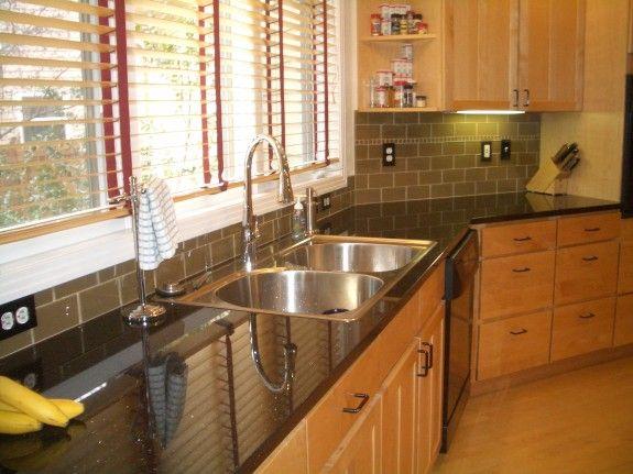 Best Khaki Glass Subway Tile Kitchen Backsplash Kitchen 400 x 300