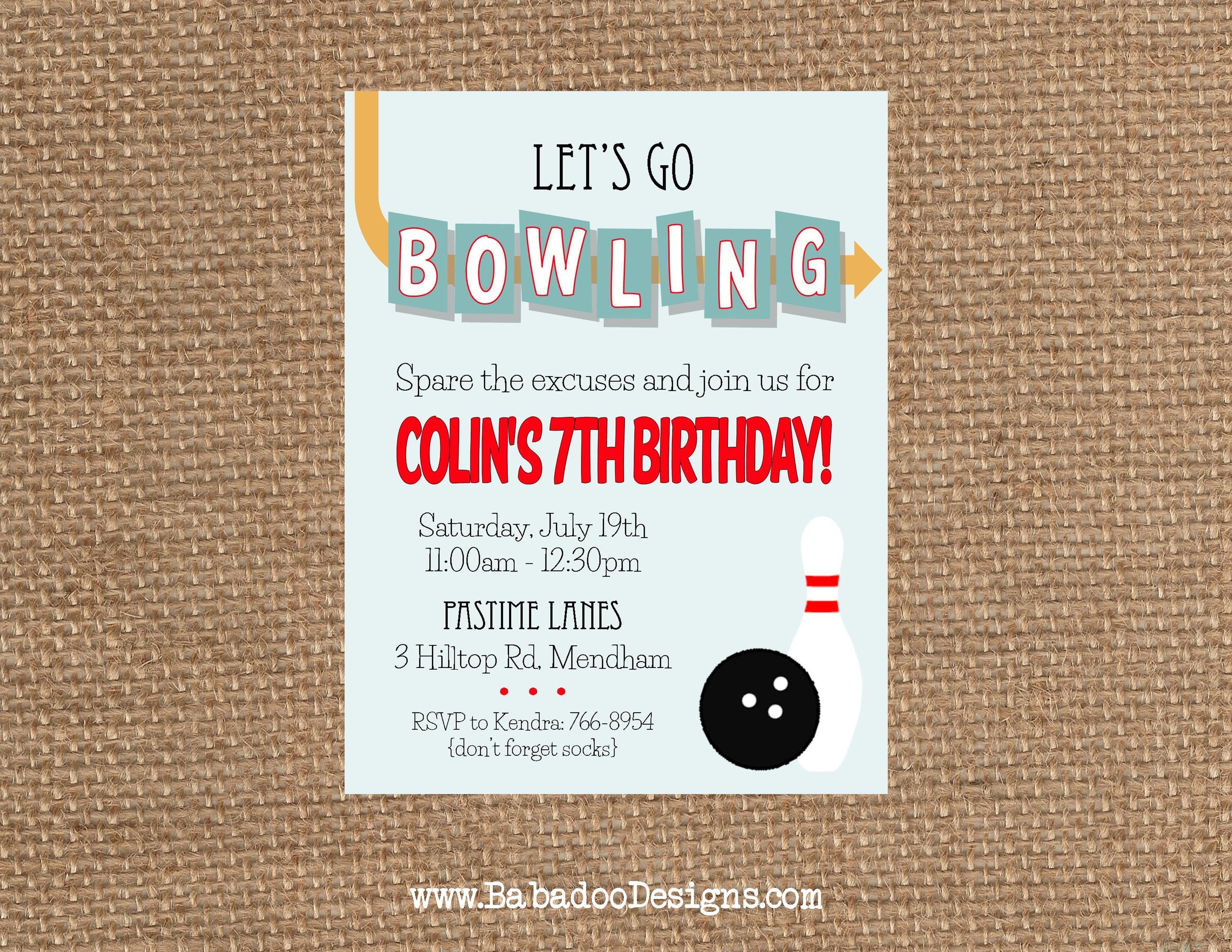 Bowling Invitation  Retro Bowling Invitation  Vintage Bowling
