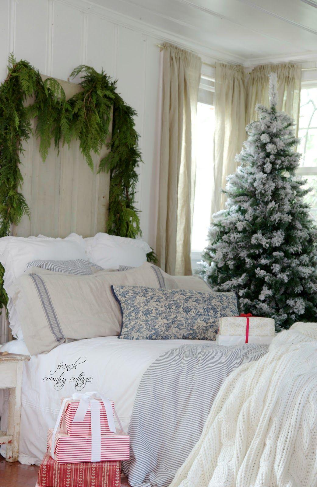Blue & White Cottage Bedroom Christmas bedroom, Winter