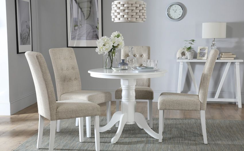 Room Kingston Round White Dining Table