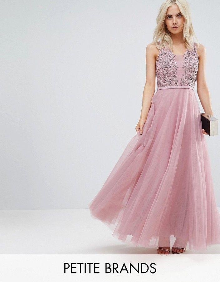 Little Mistress Petite Floral Applique Top Maxi Prom Dress (Ad ...