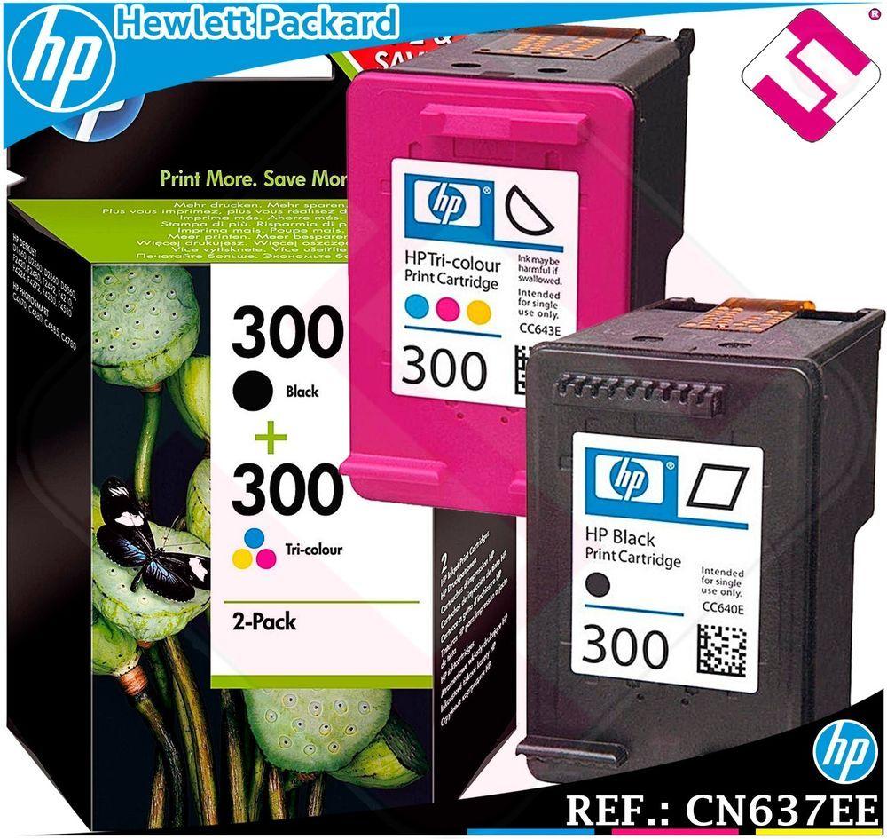 Detalles De Tinta Pack Negra Tricolor 300 Original Impresoras Hp