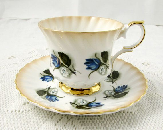 Queen Anne Tea Cup and Saucer with  Blue Roses, Vintage Bone China