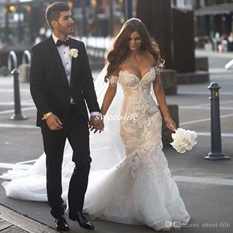 Cheap Luxury Wedding Dresses 2016 Steven Khalil Mermaid Off Shoulder Pearls Embroidery Lace Applique Beading Bridal Gowns Long Tulle Train Vintage As Low