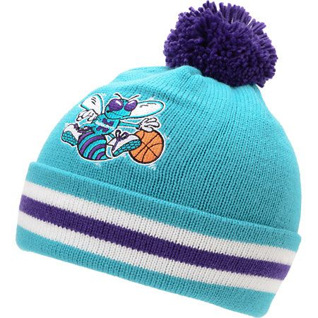 8690a8b07b6 NBA Mitchell And Ness Charlotte Hornets Turquoise Pom Beanie ...