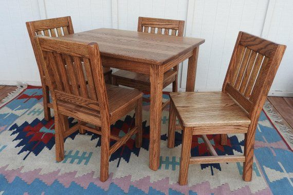 Kids Table Set Children S Table And Chairs Dark Oak Grandkids Gift Kids Wood Furniture Table 24 H 4 Chairs 14 Seat Height Oak Table Chairs Kids Table Chairs Dining Furniture