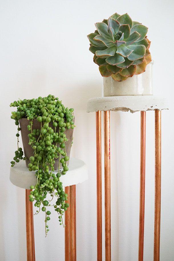 Transformed Concrete Copper Plant Stand Diy Plant Stand Diy Plants Plant Stand
