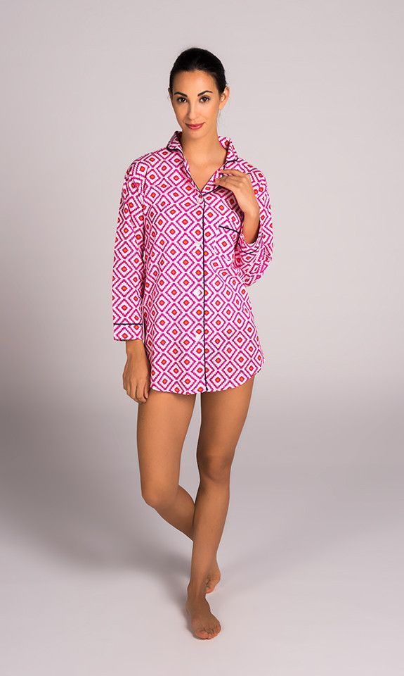 Hopi Pink Women's Cotton Sleep Shirt by Malabar Bay