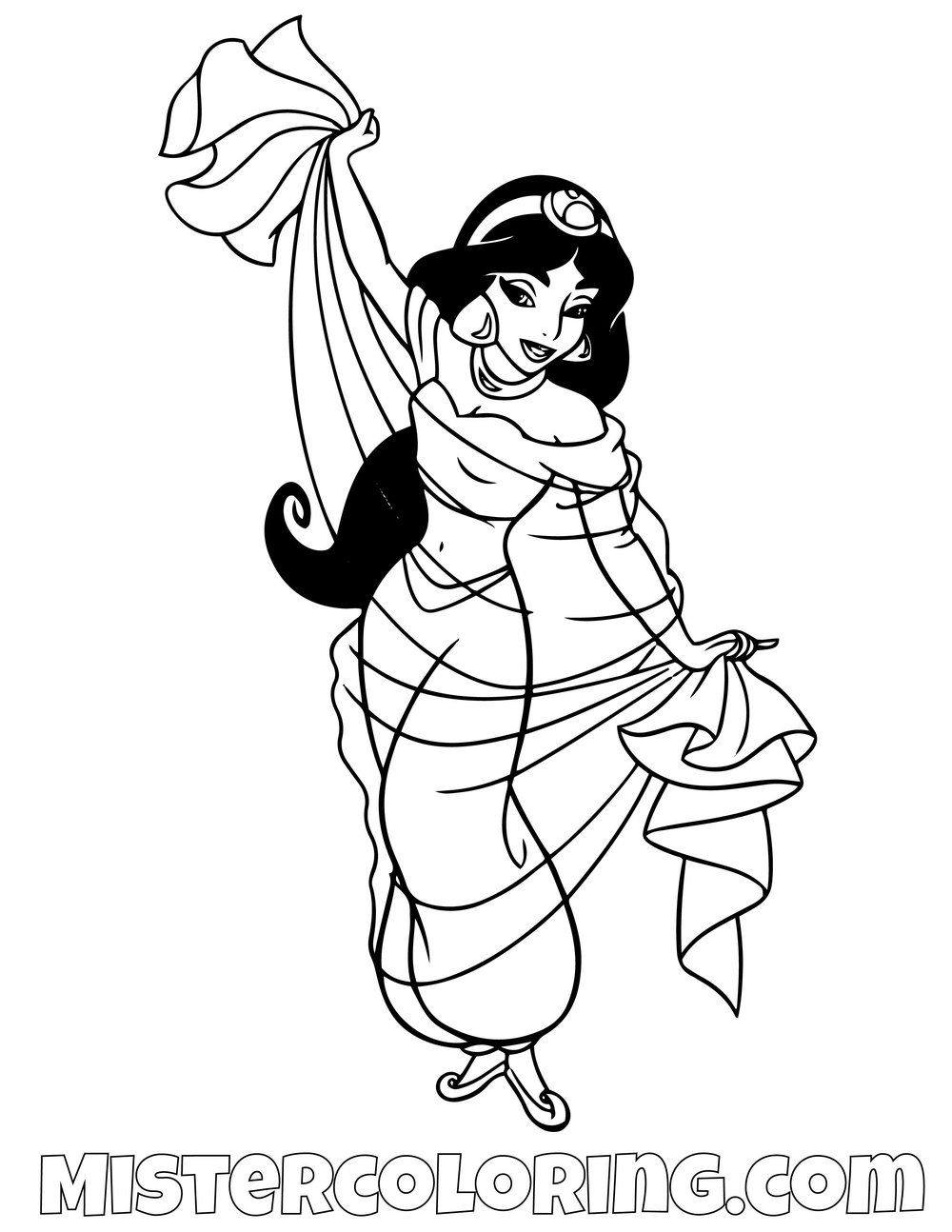 Princess Jasmine Dancing Aladdin Coloring Page For Kids Princess