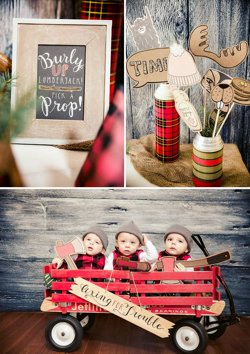 Rustic & Burly Lumberjack Bash {Triplet First Birthday Party | Party