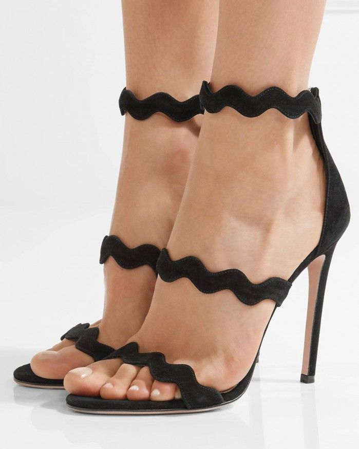 Prada& sandals have been made in Italy from smooth black suede. Set on a  vertiginous stiletto heel, this pair has three precision-cut straps that  are ...