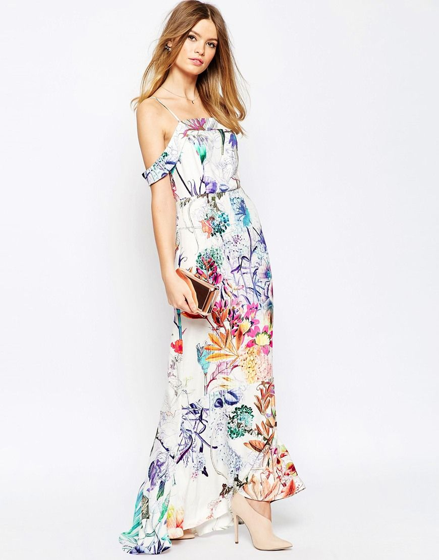 Floral print wedding dresses  WEDDING Bardot Fishtail Maxi In Floral Print  My Style  Pinterest