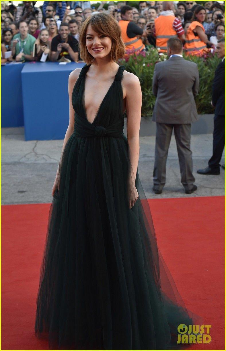 48ea8d004b62 Emma Stone Wears a Very Low Cut Dress for  Birdman  Venice Film Festival  Premiere