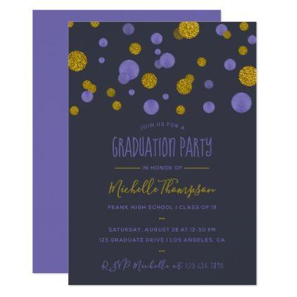 Purple and Gold Glitter Confetti Graduation Party Card - graduation - confeti