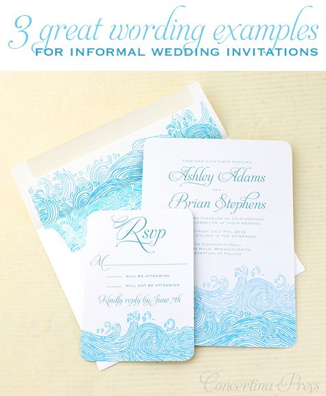 Concertina Press Stationery And Invitations 3 Great Wording E Casual Wedding Invitations Rustic Wedding Invitation Wording Wedding Invitation Wording Casual