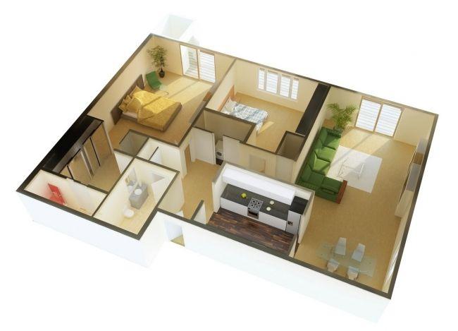 50 Plans 3D d\u0027appartement avec 2 chambres House, House projects - plan maison avec appartement