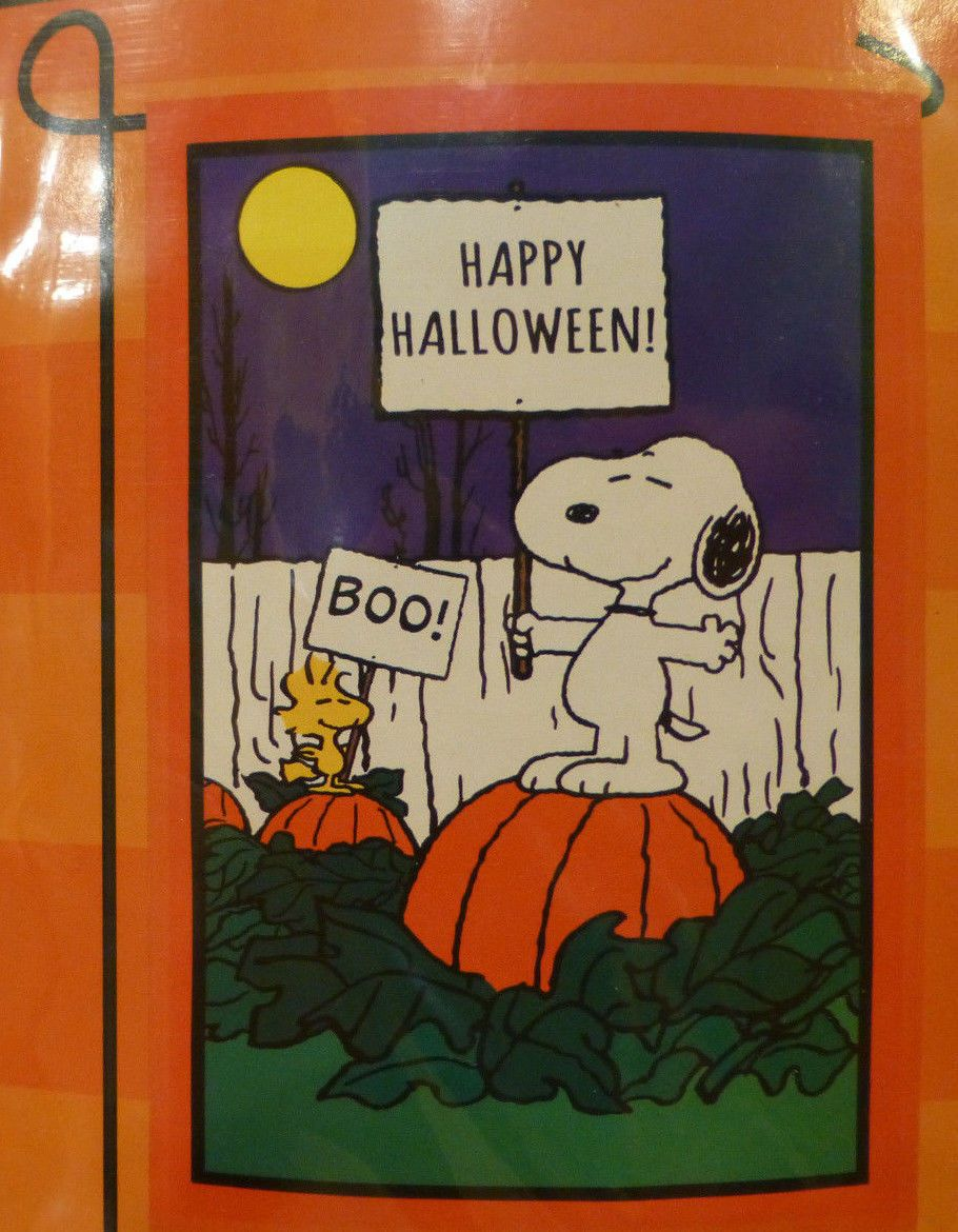 245e78b866d68  1199 Peanuts Snoopy   Woodstock Happy Halloween Garden Flag 12