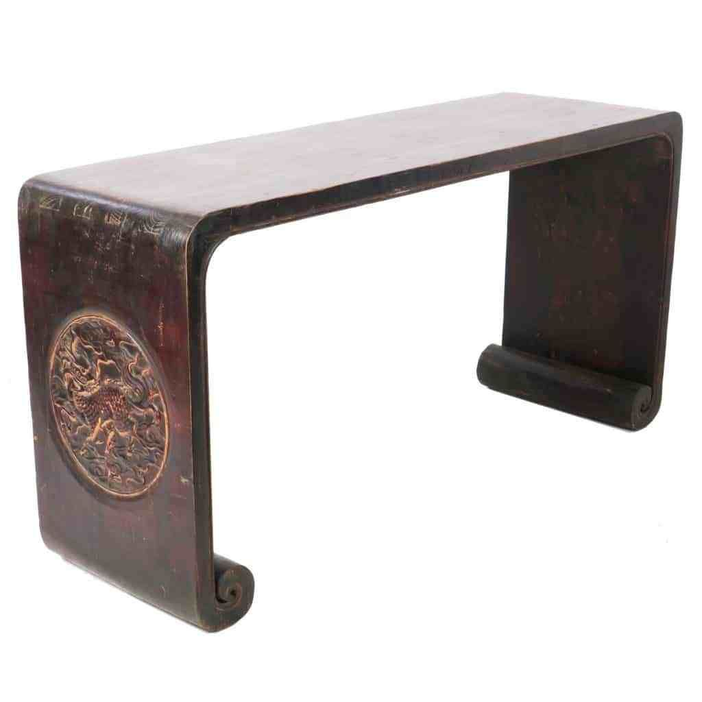 Antique Chinese 65 Inch Altar Table Desk Scroll Feet With Relief