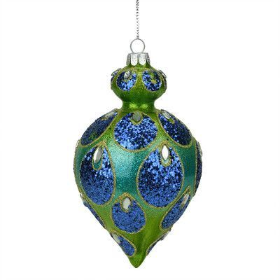 NorthlightSeasonal Regal Peacock Glittered Glass Teardrop Finial - peacock christmas decorations
