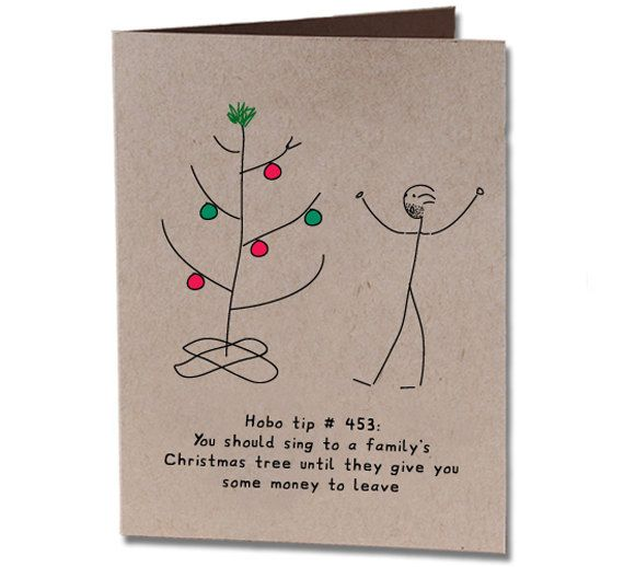 Items similar to christmas holiday humor greeting card singing to a christmas tree on etsy
