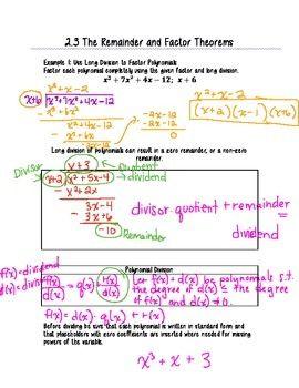 Remainder Factor Theorem Factor Theorem Theorems Remainder