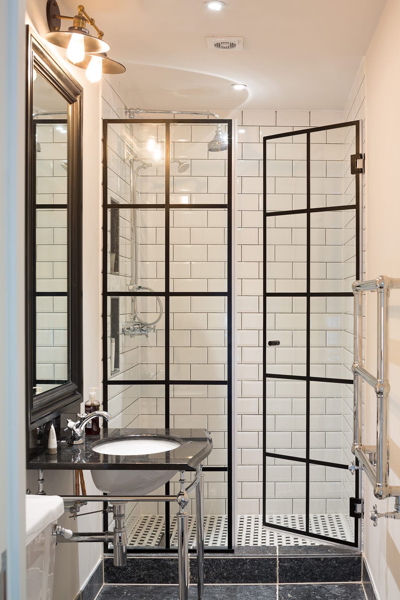 Take standard shower doors and add lead flashing for for Cool shower door ideas