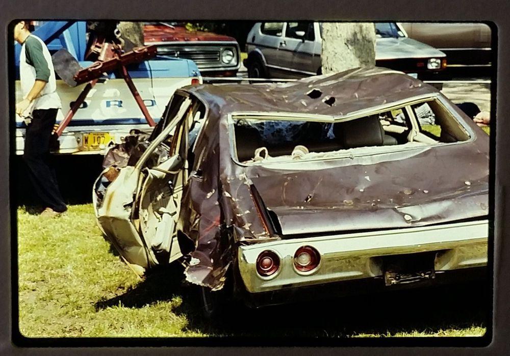 Vintage Color Ektachrome Slide 1972 Chevelle TOTALED