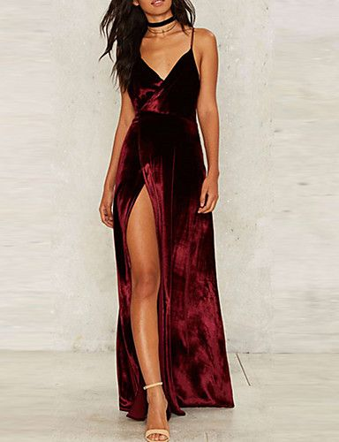 6b3be106ed04 Women's Party Going out Club Sexy Sophisticated Swing Dress,Solid Strap  Maxi Sleeveless Rayon Polyester All Seasons High Rise Inelastic