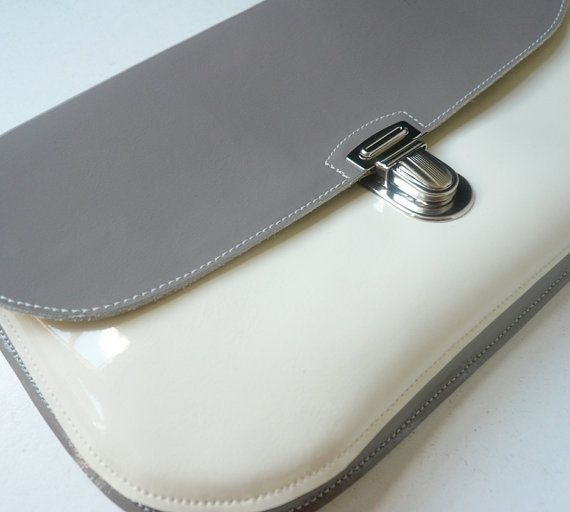 Also nice. Gray/Cream Patent Leather Clutch by frenchenglish