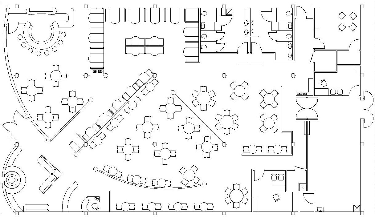 Restaurant dining room blueprint restaurant design for Cad blueprints