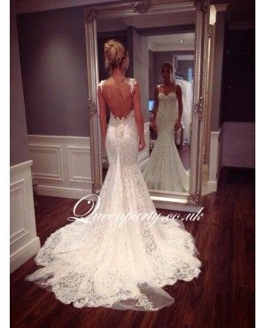 wedding dresses open lace back - Google Search | Dream wedding ...