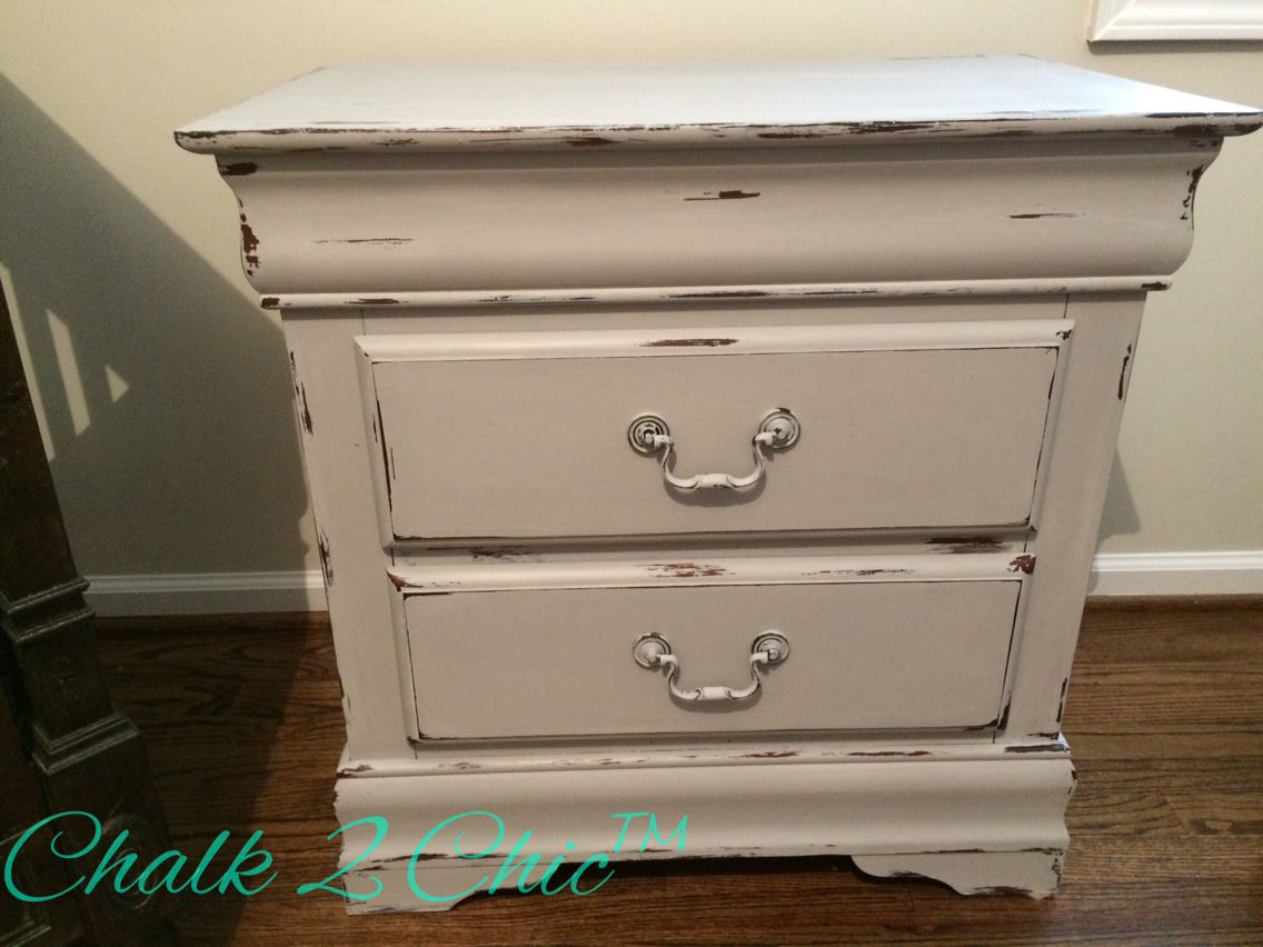 Cherry nightstand painted in Annie Sloan Paris Grey, distressed, and waxed.