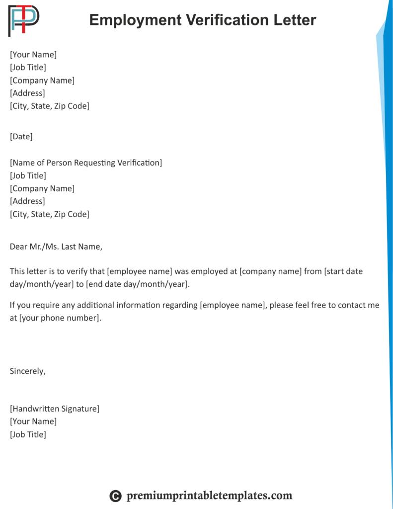Employment Verification Letter Letter Template Word Letter Of