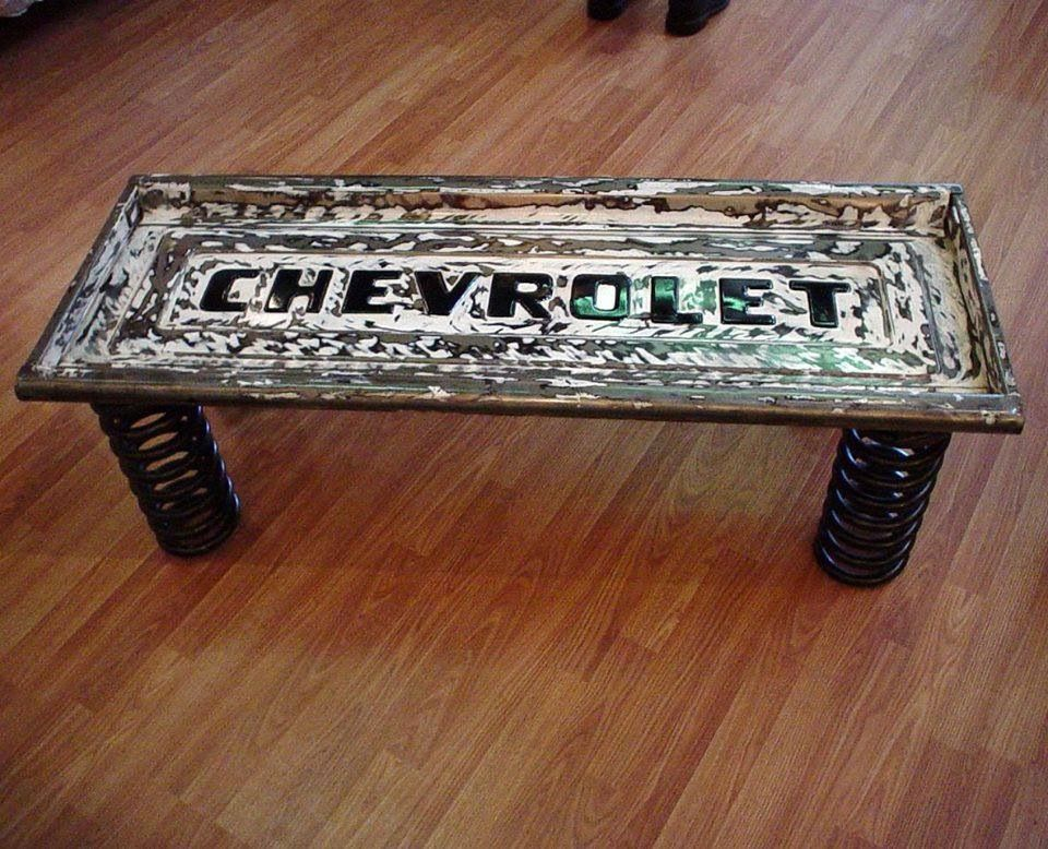 Coffee table from repurposed Chevy Chevrolet metal tail gate and spring legs, recycled art; only Ford!!