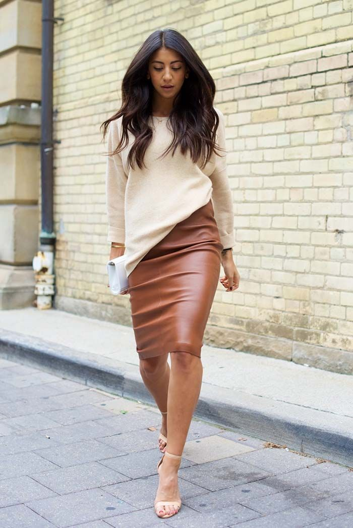 459e5071e83c ... outfits - fall outfits - casual outfits - fall outfits - street style -  street chic style - business casual - office wear - brown leather pencil  skirt ...