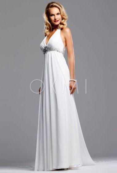 grande immagine  Vestido de noiva com Cristal com Drapeado Estilo formais Profundo decote em V