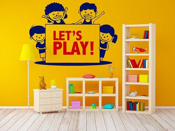 Playroom Decal, Lets Play Decal, Nursery Decal, Preschool Wall Decal ...