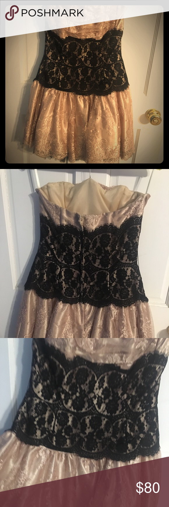 Cream Taupe Lacey Ruffle Cocktail Dress strapless | Taupe, Ruffles ...