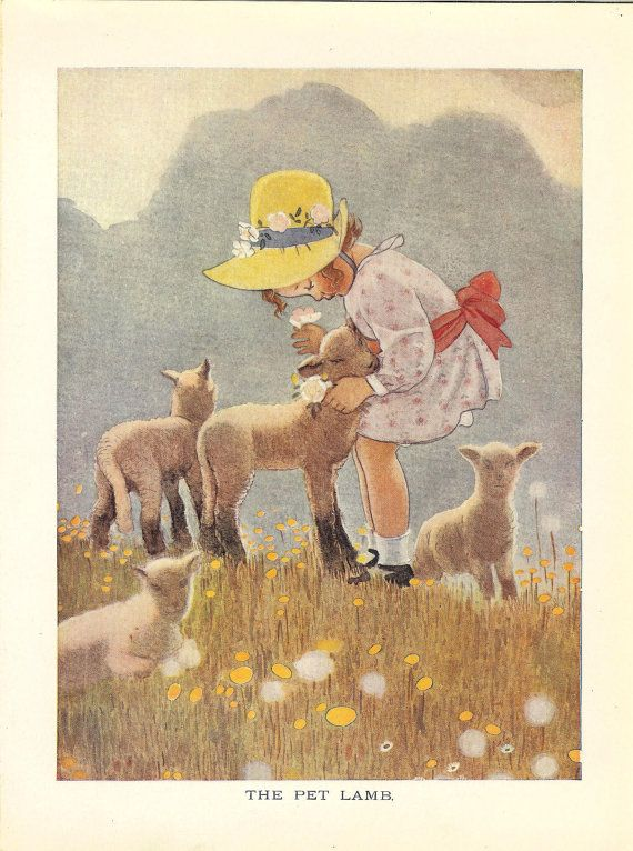 1923 Pet Lamb Vintage Childrens Print-Little Girl Cuddles Her Pet Lamb. Ideal For Framing.