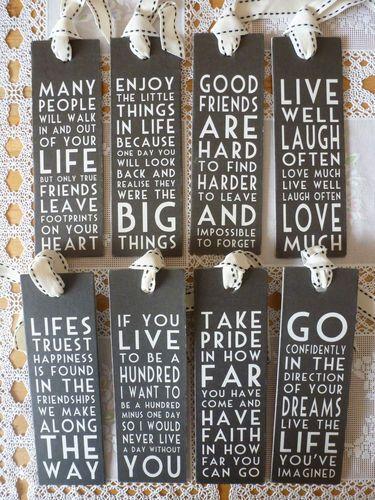 Black Card Bookmark Shabby Chic Wisdom Wise Word