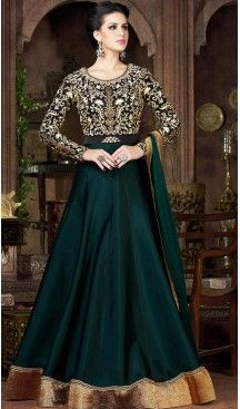 Bottle Green Color Silk Fabric Designer Stitched Gown Dress Fh447970432 Gowns Designer Womens Wedding Eve Model Pakaian Pakaian India Mode India