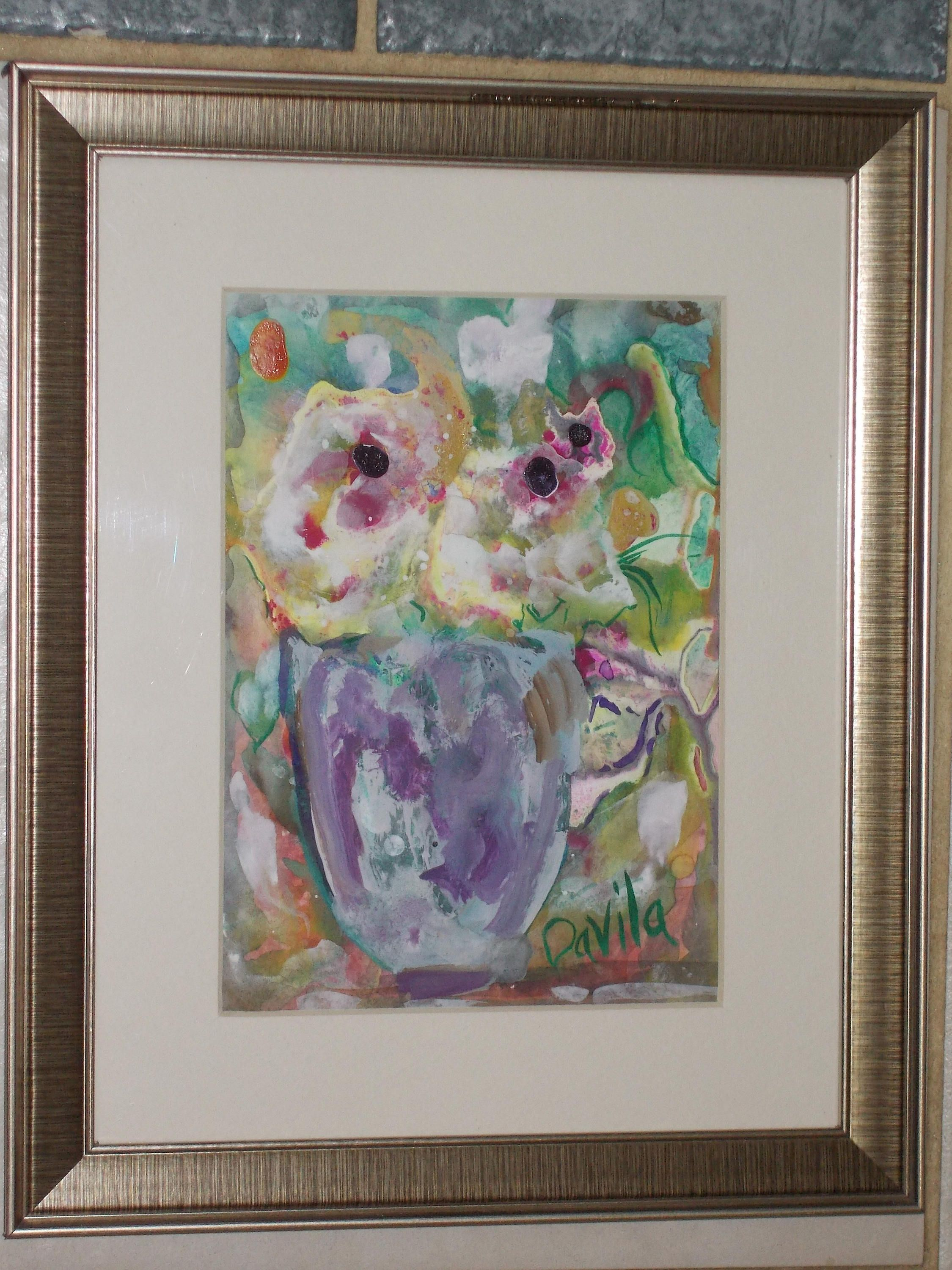 Marble Floral original impressionistic watercolor painting by Texas ...