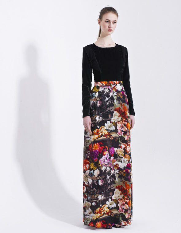 The Meed Flower Printed Silk Skirt with High Waist - Women's #Skirts