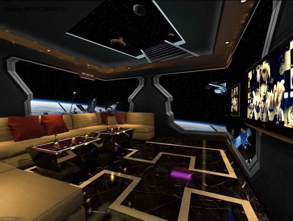 3D Spacecraft Window View Satellite Entire Room Wallpaper Murals Art ...