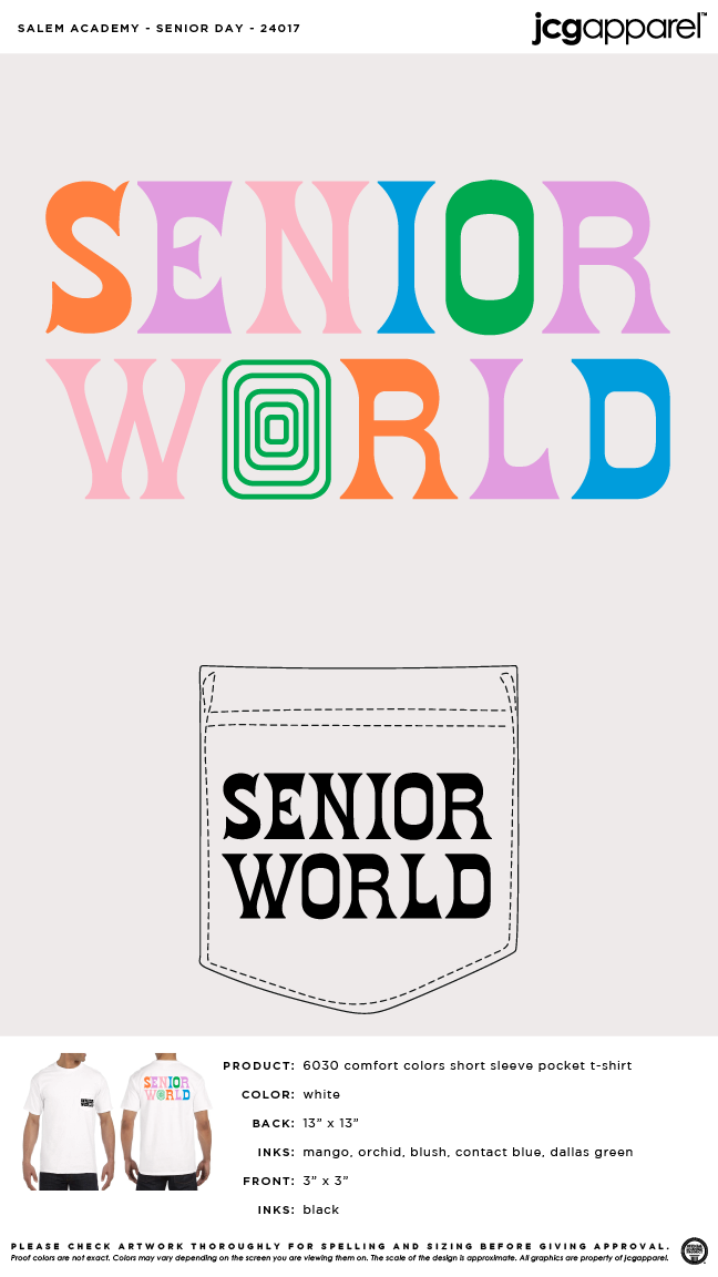 Salem Academy Senior Day Shirt #retro #letters #senior #world #colorful