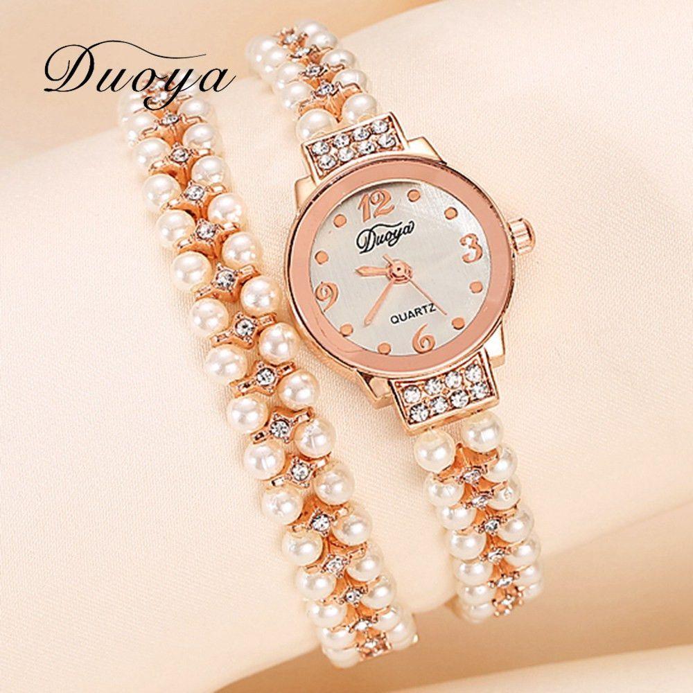 Women bracelet watch women gold pearl jewelry steel wristwatch