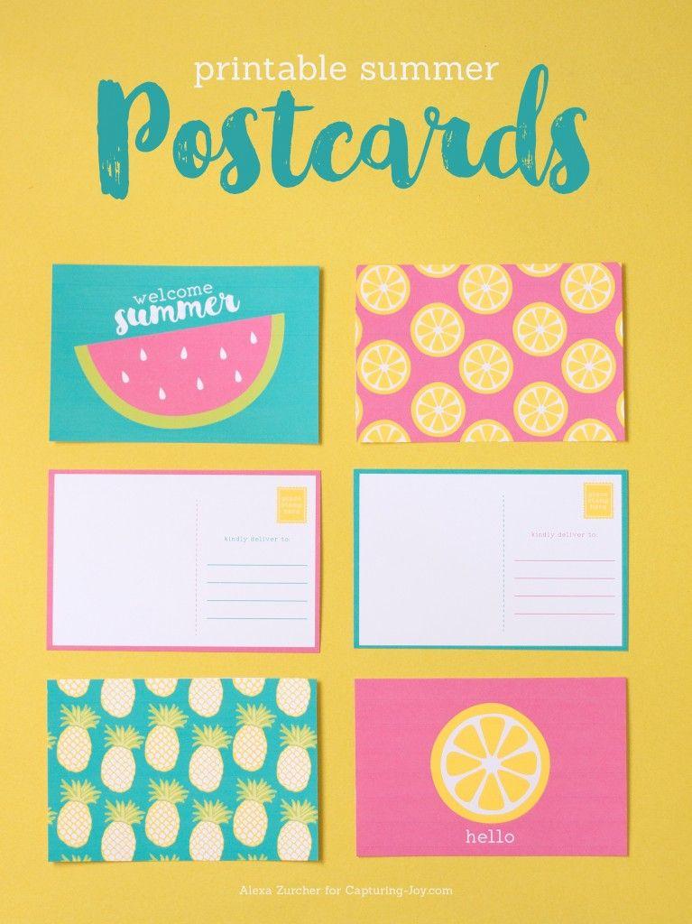 Printable Summer Postcards Lemon, Bright and Summer - postcard template free printable