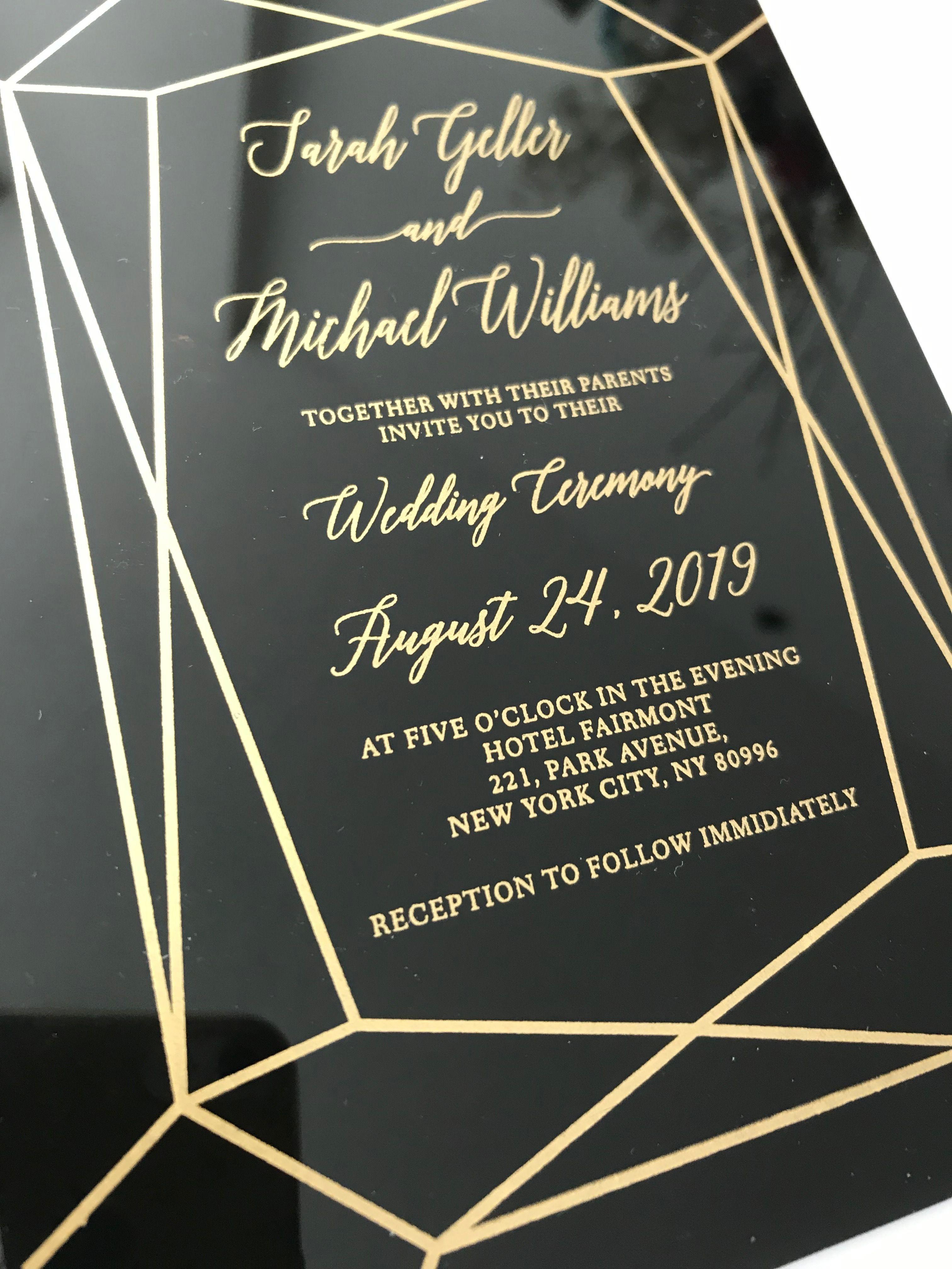Black Acrylic Invitation Trending Wedding Stationery 2018 Wedding