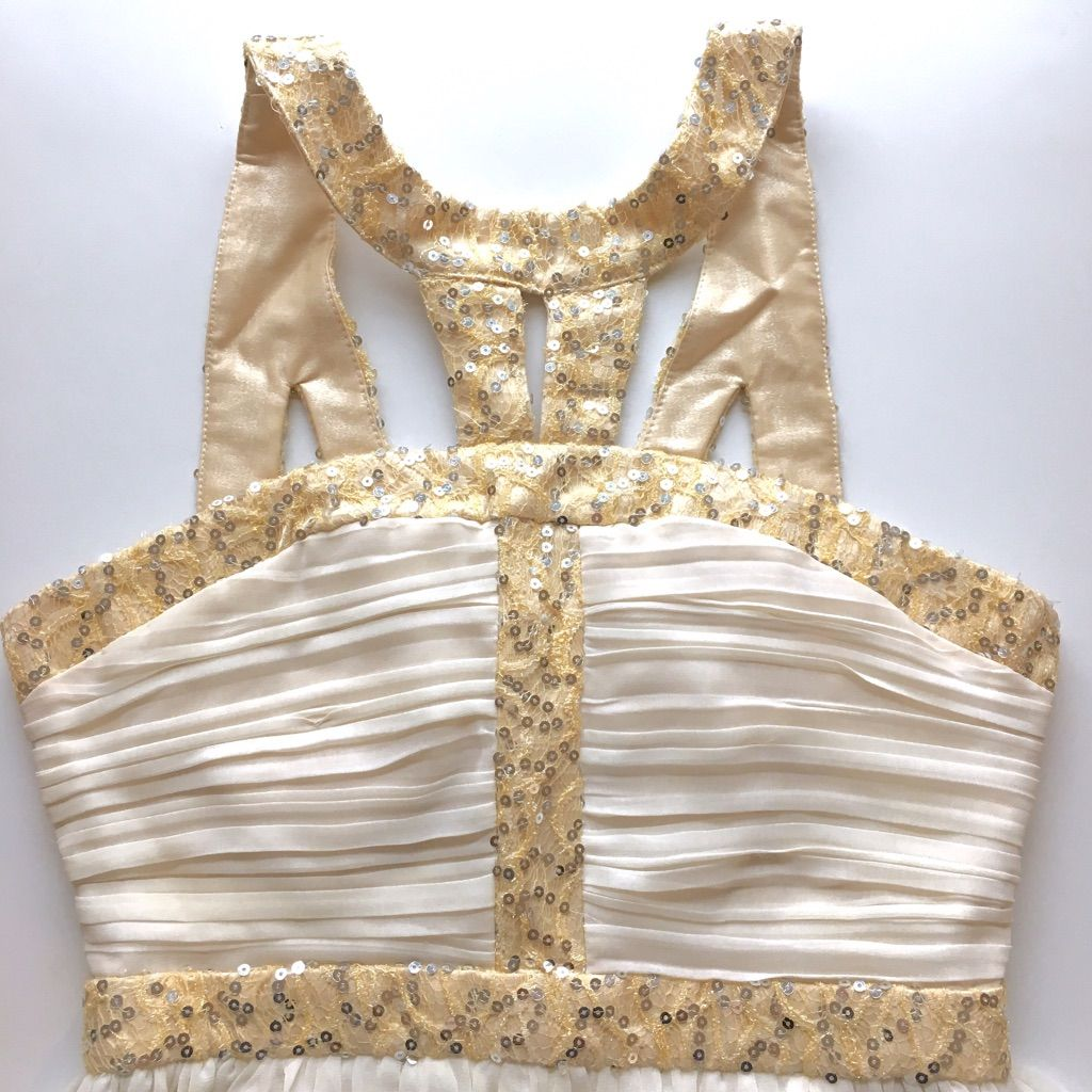 White and gold sequin flowy goddess dress minuet goddess dress and