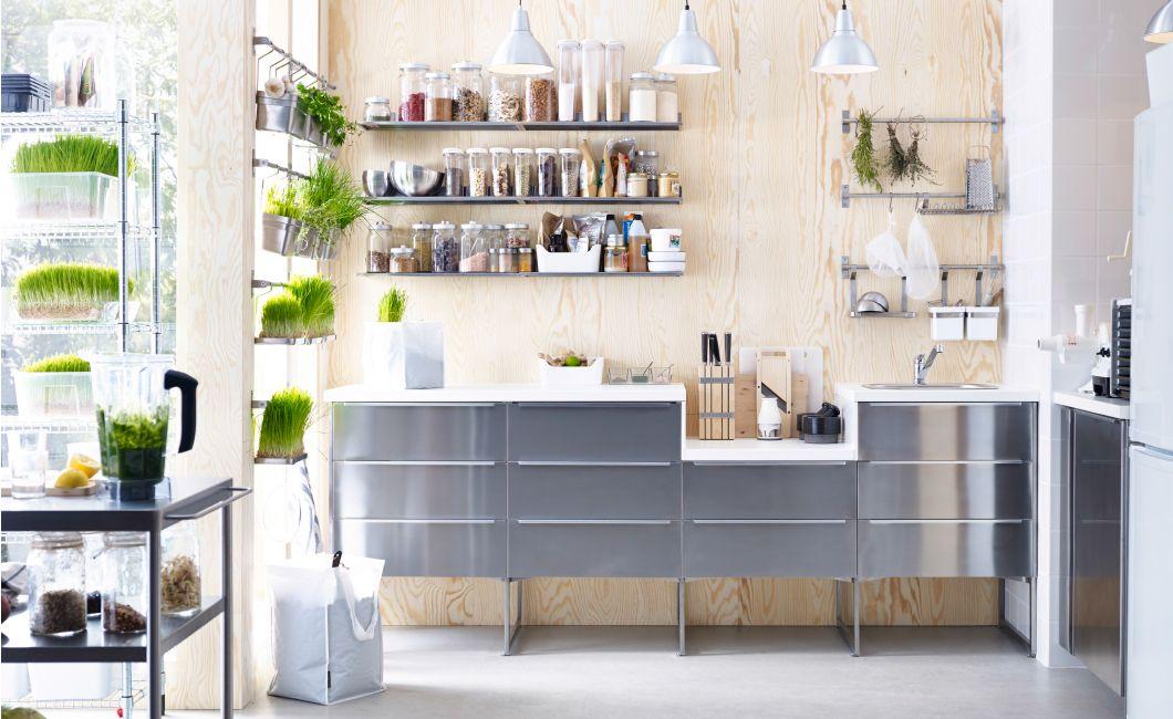 k che u a bestehend aus metod unterschr nken mit 3 grevsta fronten in edelstahl und 3. Black Bedroom Furniture Sets. Home Design Ideas